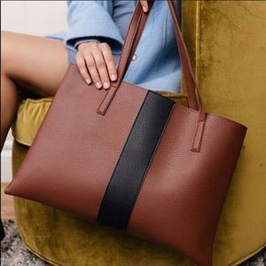 New Vince Camuto Vegan Leather Camel Luck Tote